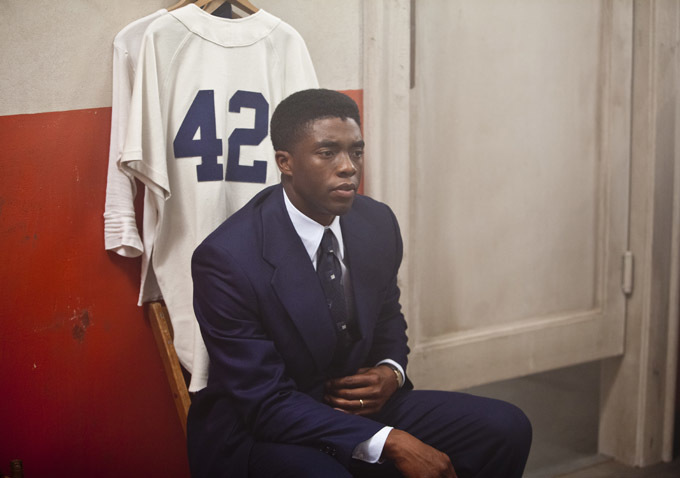 """Chadwick Boseman as Jackie Robinson (""""42"""" 2013)"""